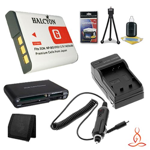 Halcyon 1400 mAH Lithium Ion Replacement NP-BG1 Battery and Charger Kit + Memory Card Wallet + Multi Card USB Reader + Deluxe Starter Kit for Sony Cyber-shot DSC-H9, 8.1 Megapixel, 15x Optical/2x Digital Zoom, Digital Camera and Sony NP-BG1 by Halcyon
