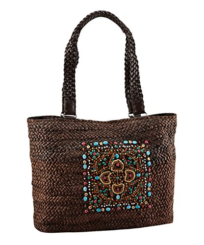 Weave Basket Beach Bag, Bohemian Woven Totes with Bling, Wooden Beaded Purse -