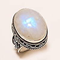 KassarinShop Antique 925 Silver Large Moonstone Floral Ring Wedding Anniversary Women Jewelry (6)