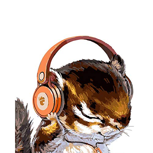 (Painting by Numbers Squirrel Christmas Headset Animal DIY Digital Modern Wall Art Canvas Painting Unique Gift Home Decor Canvas Wall Art 18X22in)