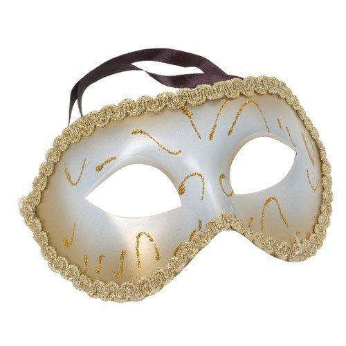 U.S. Toy White and Gold Basic Venetian Masquerade Mask
