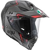 AGV AX-8 Dual Sport Evo Helmet (Black/Silver/Red, Large)