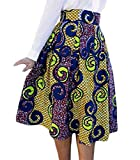 Lovezesent Women's High Waist A-Line Pleated African Print Midi Skirt Small Multicolored
