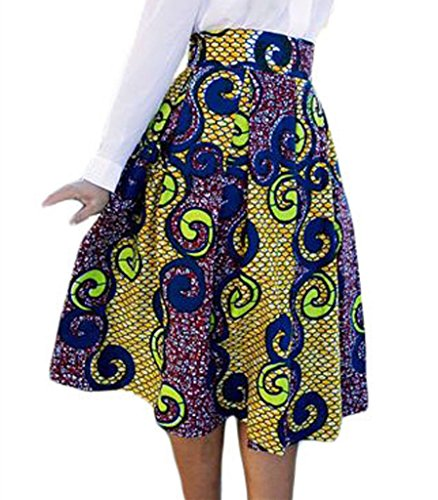 Lovezesent Women's High Waist A-Line Pleated African Print Midi Skirt Small Multicolored by Lovezesent