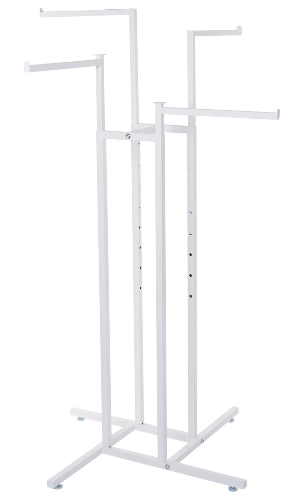 SSWBasics White 4-Way Clothing Rack with Straight Arms