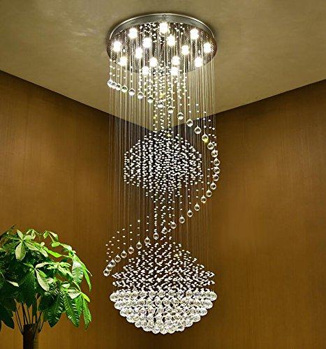 Siljoy Spiral Raindrop Crystal Chandelier Lighting Modern Round Ceiling Lights W31.5″x H79″ For Sale