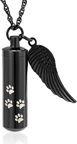 Dog or Cat Memorial Pet Grieving Capsule Urn with Paw Print Charm in Necklace or for Collar