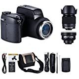 MMUSC Digital Camera, 33MP Digital SLR Camera with Wide Angel Lens + Telephotos Lens + Flash + LED Spotlight, 24x Optical Zoom and 1080p Full HD Video Commander Starter Kit(D7200)