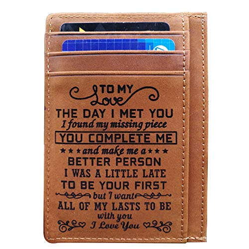 Engraved Pocket Wallet To My Son Dad Husband, Personalized Gift Slim Cards Case Money Clips (TO MY LOVE-Brown) (Engraved Personalized Leather)