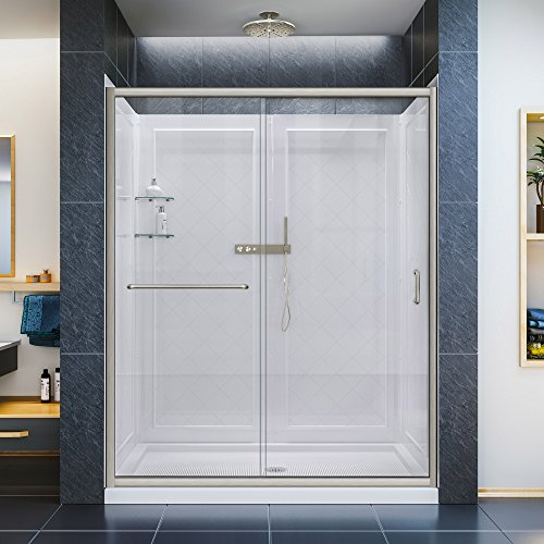 DreamLine Infinity-Z 30 in. D x 60 in. W Clear Sliding Shower Door in Brushed Nickel with Center Drain White Base and Backwall, DL-6116C-04CL