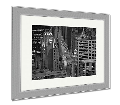 Ashley Framed Prints Michigan Avenue Chicago, Contemporary Decoration, Black/White, 26x30 (frame size), Silver Frame, - Chicago Shops On Michigan Avenue