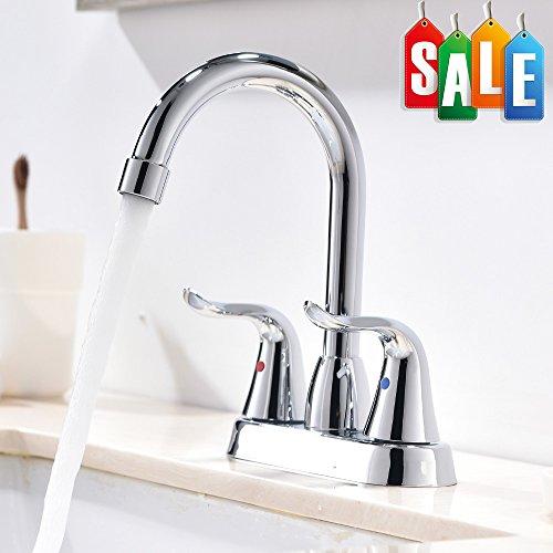Modern Two Handle Lavatory Vanity Basin Chrome Bathroom Faucets, Chrome Finish Bathroom Faucets
