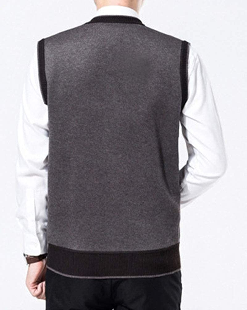Mens Middle Old Aged Classic Sleeveless Button Up Cardigan Knitwear Pockets Sweater Tops