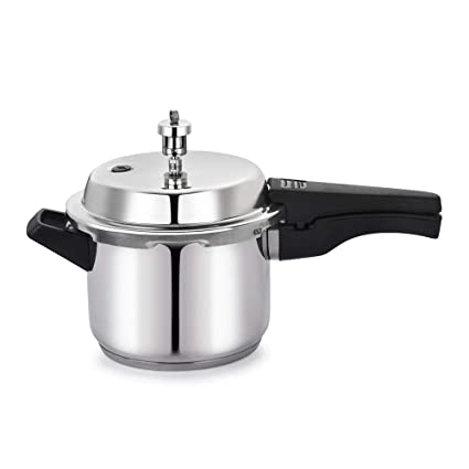 BMS Lifestyle Stainless Steel Pressure Cooker with Outer Lid, 3 litres (Silver)