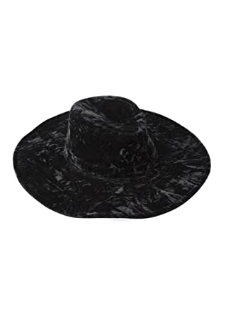 5a4aa605c43 Killstar Velvet Gothic Witch Brim Fedora Hat Black Crushed Velvet Black   Amazon.co.uk  Clothing