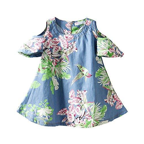 Mud Kingdom Denim Toddler Girls Dresses Cold Shoulder Floral