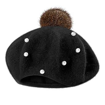 31a165cc4b8b Mamum Mignon Bébé Hiver Chaud Bambin Enfant Tricot Crochet Bonnet Chapeau  Enfant Fille (Noir)