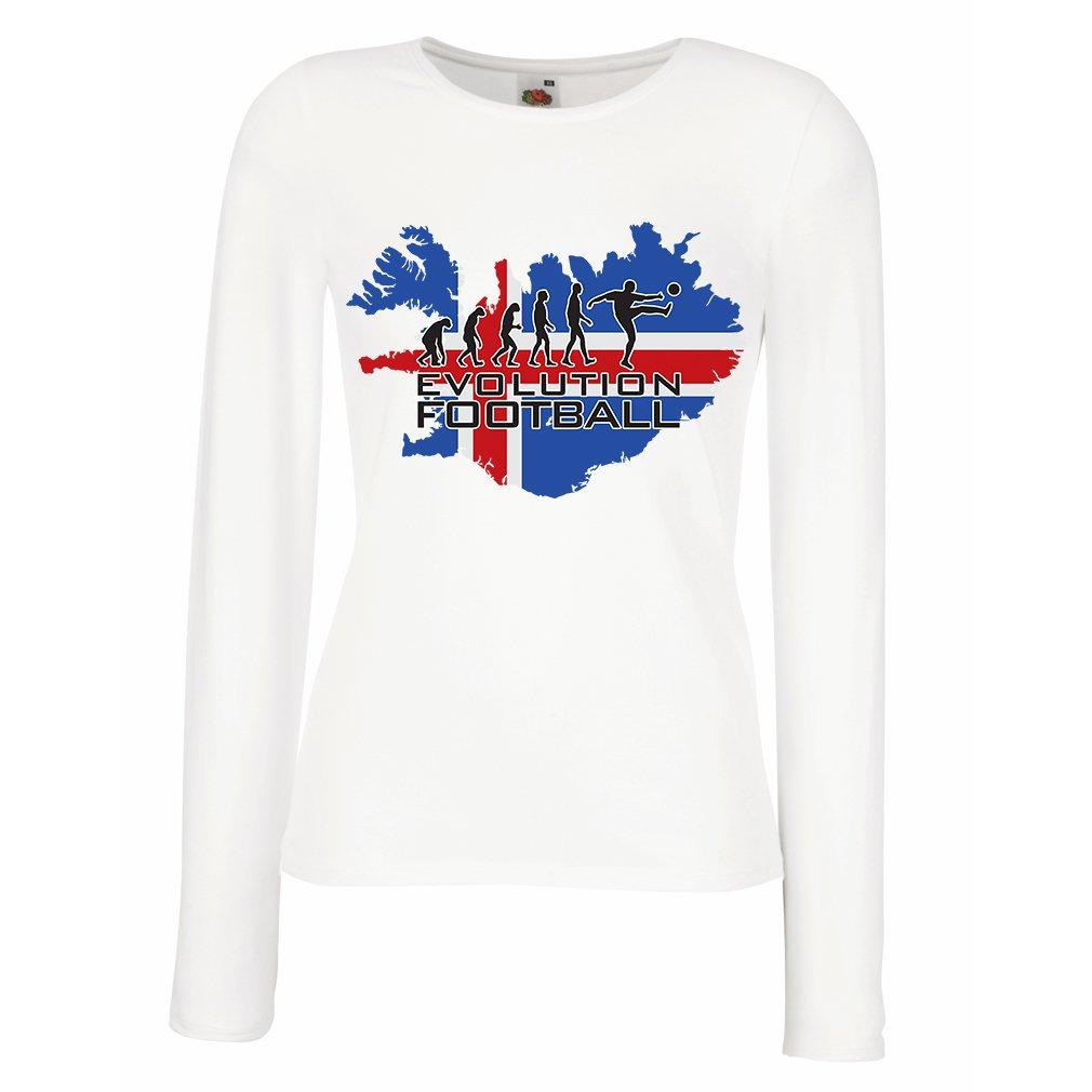 lepni.me Camisetas de Manga Larga para Mujer Copa Mundial 2018 Rusia, Equipo Nacional de Fútbol de Islandia, Evolución: Amazon.es: Ropa y accesorios