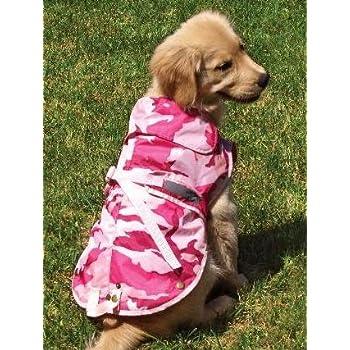 c908429662cd7 Amazon.com: Medium Pink Camo Dog Rain Coat Fits Dogs 22 - 32 Lbs ...
