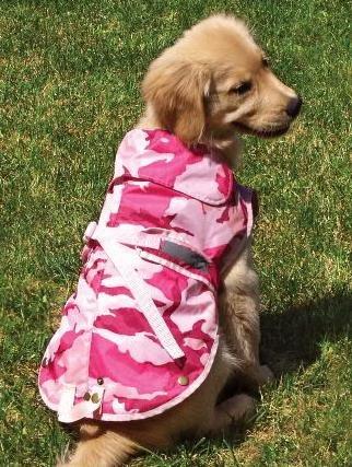 Medium Pink Camo Dog Rain Coat Fits Dogs 22 – 32 Lbs [Misc.], My Pet Supplies