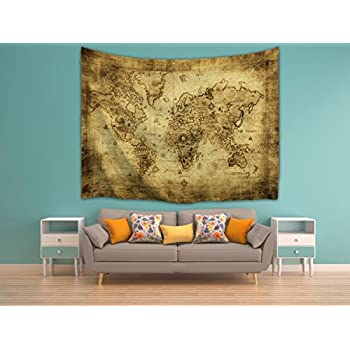 Amazon imei antique world map wall tapestry hanging polyester imei antique world map wall tapestry hanging polyester fabric retro color wall art tapestries home gumiabroncs Images