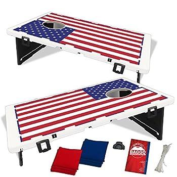 Image of BAGGO USA American US Flag Bean Bag Toss Portable Cornhole Tailgate Game with