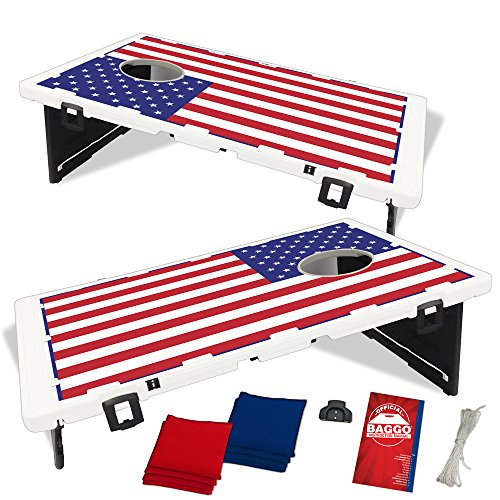 (Baggo USA American US Flag Bean Bag Toss Portable Cornhole Tailgate Game with)