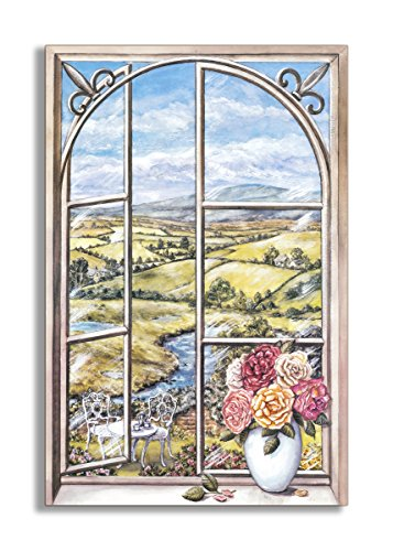 Stupell Home Décor Wrought Iron And Cabbage Rose Window Scene, 22 x 0.5 x 33, Proudly Made in USA (Wrought Iron Window Decor)