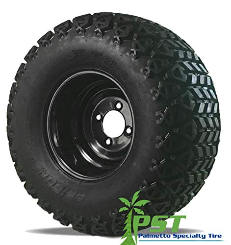 Black Steel Golf Cart Wheels with 22×11.00-10 All Terrain Tires Combo (SET OF 4)