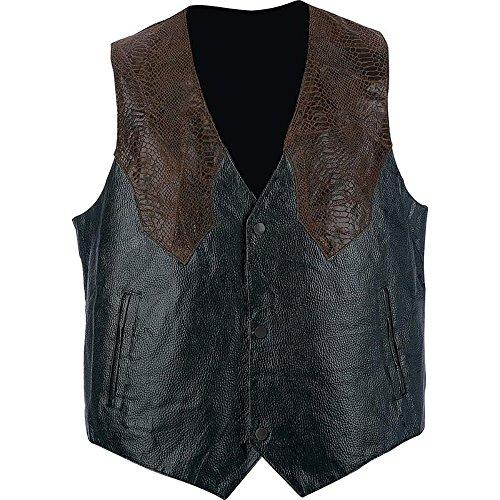 Biker Vest Pebble Grain Genuine Leather Faux Snakeskin Motorcycle Western Style (4XL)