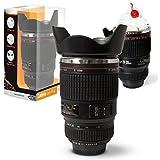 Twitfish® - Camera Lens Mug - Tasse à Café Mug en forme d'objectif photo en Intérieur en acier inoxydable (Noir)