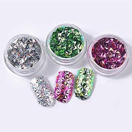 Kanggest.6 Color de decoración de uñas Arte triángulo para Mujer DIY Rhinestone Adorno Navidad Serie Parche Dorado Ruedas Ordenador Pastillas Cristal ...