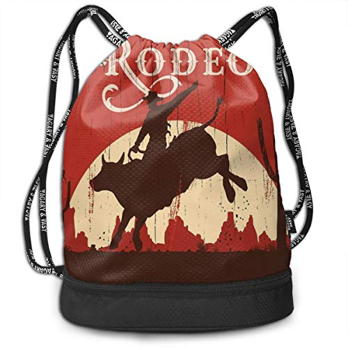 Men & Women Premium Polyester Drawstring Sack Cowboy Riding Bull Wlid West Rodeo Cactus Wooden Shoulder Bags Theft Proof Lightweight For Swim Soccer Baseball Bag Large Size For Camping, Hiking