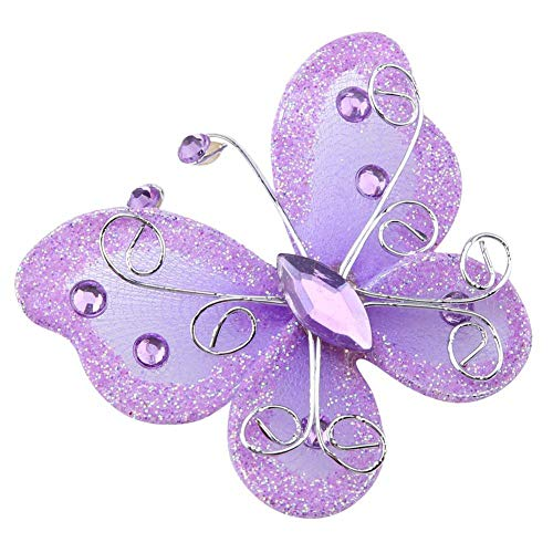 24pcs Christmas Butterfly Ornaments Mesh Wire Glitter Butterfly Wedding Party Clothing Wall Tree Decoration DIY Supplies(Purple) -