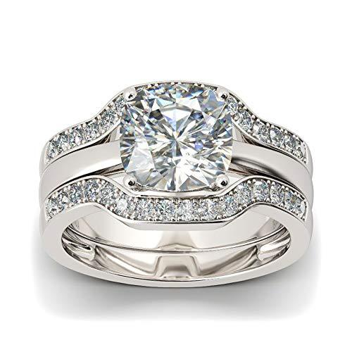 (Pophylis Womens Solitaire Engagement Rings Platinum Plated Bridal Set 2.4Ct Cushion Cut White Cubic Zirconia Size)