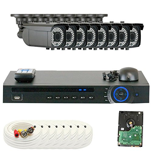 GW Security HD-CVI 8CH DVR 1080P @30FPS Realtime Security Camera System - 8 x 2MP Weatherproof 2.8-12mm Varifocal CVI Cameras, 64-IR LED 180ft Night Vision, Pre-Installed 1TB Hard Drive