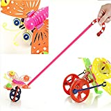 Lovely Butterfly Baby Kids Push Pull Toys,Cartoon Bee Shaped Hand Push Plastic Handle Walker for Kids Toddlers,Early Education Walking Walker,Cute Push and Pull Toy Walk Along for 1 Year Up