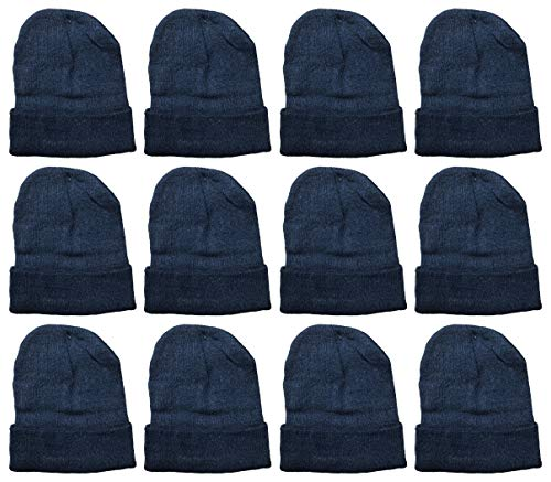 Yacht & Smith Mens Womens Warm Winter Hats in Assorted Colors, Mens Womens Unisex (12 Packs Black)