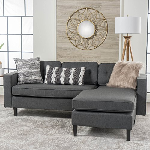 Apartment Size Furniture (Windsor Living Room | 2 Piece Chaise Sectional Sofa | Scandinavian, Mid Century Design | Dark Grey Fabric)