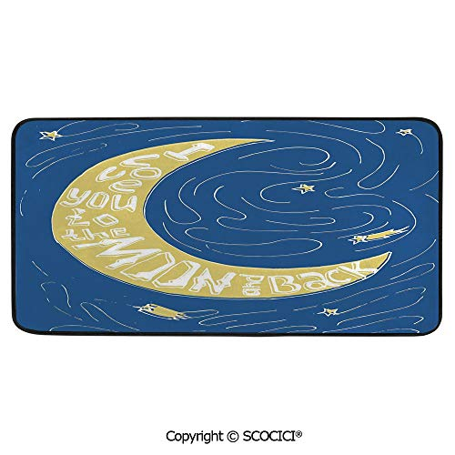 Soft Long Rug Rectangular Area mat for Bedroom Baby Room Decor Round Playhouse Carpet,I Love You,Crescent Moon Maze with Comet Stars Swirls Celebration,39