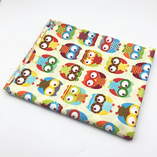 160cm (Wide) X 50cm(Length) Owls Birds Florals Printed 100% Cotton Fabric for Patchwork Quilting Baby Garment Cushions Blanket Sewing DIY Cloth Material (Yellow Owls)