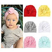 DRESHOW 6 Pcs Newborn Hospital Hat Infant Baby Hat Cap with Bog Knot Soft Cute Nursery Beanie 6 Pack One Size 6 Pack One Size