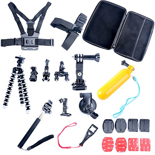 9milelake 26in1 Head Chest Mount Floating Monopod Accessories Kit for Gopro 2 3 4 Camera ,26-in-1 Accessories Kit for Gopro Hero 4, Hero Hd 3+/3/2/1 Camera by 9milelake