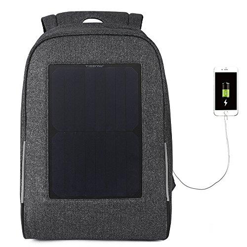 Tigernu Hombres del computadora bolsas 39,6cm computadora portátil Messenger Backpack con panel solar cargador 10W de...