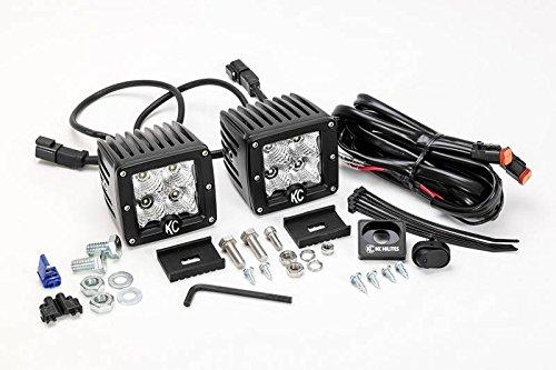 KC HiLites 3'' C-Series C3 LED Flood Black Beam Pair Pack System 332