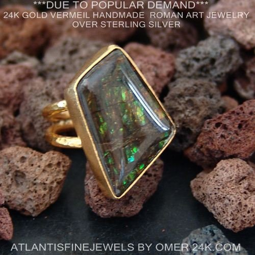 (Ammolite Handmade Double Hammered Shank Ring 24k Gold Over 925k Sterling Silver Size 7.25)