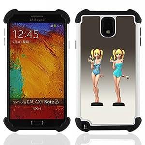 """SAMSUNG Galaxy Note 3 III / N9000 / N9005 - 3 en 1 impreso colorido de Altas Prestaciones PC Funda chaqueta Negro cubierta gel silicona suave (Camarera linda Cocktail Swimsuit polluelo Chica"""")"""