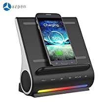 AZPEN Dockall D100 Docking Station LED Wireles Bluetooth Speaker With Qi Wireless Charging Pad For Android iPad Cell Phones (Black)