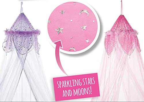 Purple Feather Metallic Moon and Star Trimmed Girls Bed Canopy by Three Cheers! (Image #1)
