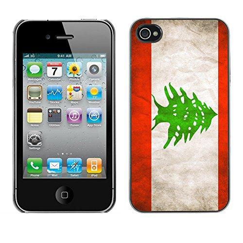 Omega Case PC Polycarbonate Cas Coque Drapeau - Apple iPhone 4 / 4S ( Lebanese Grunge Flag )